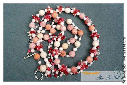 """Комплект """"Клубничное парфе"""" с кораллом ижемчугом - коралловый,розовый"""