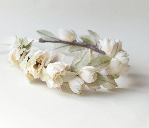 Ivory Flower crown Bridal head wreath Boho wedding by whichgoose