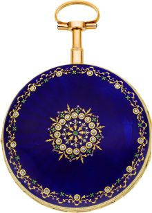 Timepieces:Pocket (pre 1900) , French Late 18th Century Gold & Enamel Quarter Repeating Verge,circa 1790. ...