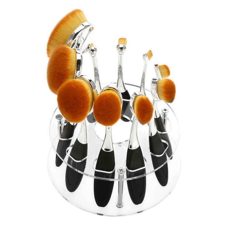 10 Hole Transparent Oval Makeup Brush Holder. $5.95 + Fee Shipping