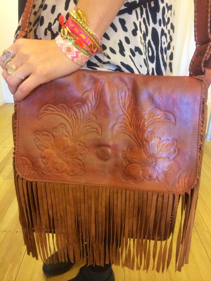 Neon gypsy vintage inspired tooled leather satchel with suede fringing