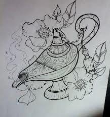 oil lamp tattoo -