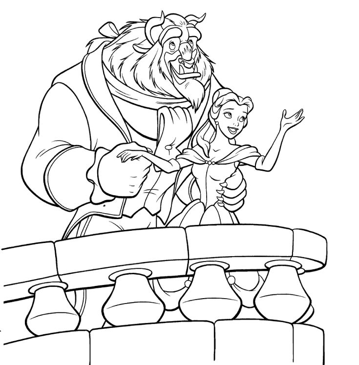Belle And Beast Viewing Moon Coloring Pages