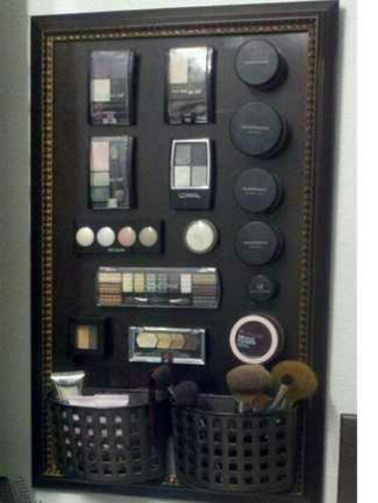 Good idea, a magnet board for your makeup