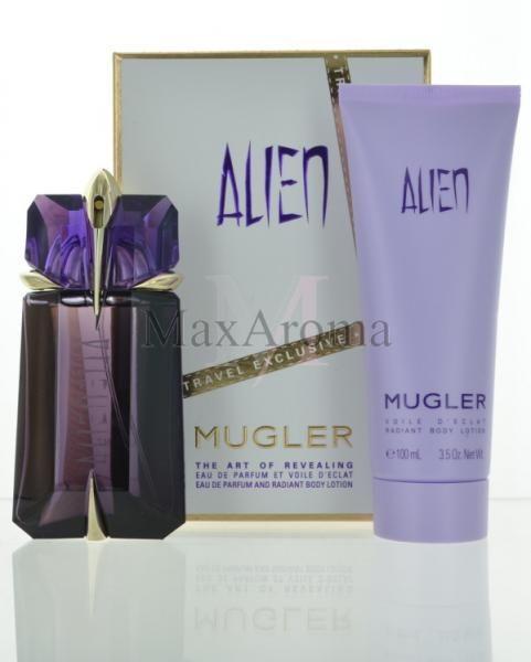 Thierry Mugler Alien  This set includesa 2 oz 60 ml Refillable Eau de parfum , a Radiant body lotion 3.5 oz 100 ml and a Shower gel 3.3 oz 100 ml , in gift box.    www.maxaroma.com fragrance women thierry-mugler-alien-for-women pid 11055 5?referance_price-1