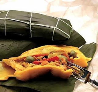 Traditional Christmas dish in Venezuela. (Hallaca)