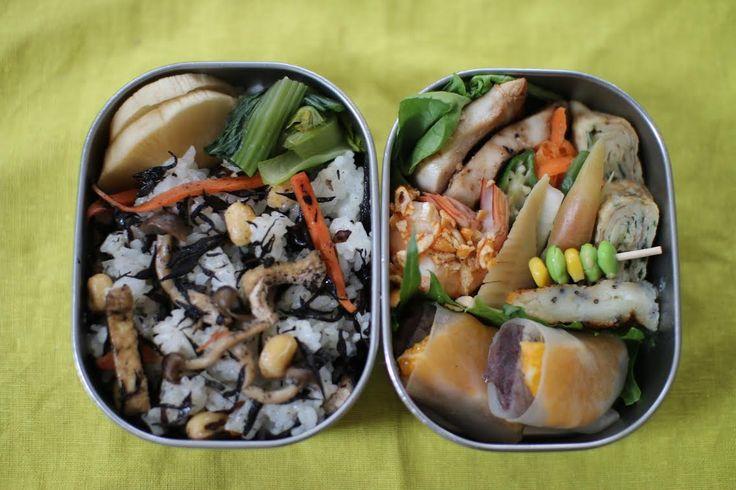 #24 Yoshiko Japan 食材や調理法を工夫して、ヘルシーなのに大満足の欲張り弁当です。鶏胸肉のオニオングリル、ニラ醤油卵焼き、人参炒めなます、ピクルス、タケノコの煮付け、芋もち明太子チーズ、海老の柿ピー衣和え、枝豆コーン串、混ぜご飯、大根の醤油漬けと小松菜の浅漬け、デザートは生春巻きの皮で小豆と清美オレンジを巻いてジューシーかつモチモチ自信作です。