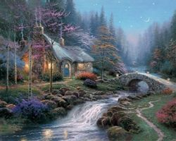 """Twilight Cottage by Thomas Kinkade    """"The subject of Twilight Cottage is more than a charming little cottage nestled by a stream. It is nothing less than the joyful melody of cricket song and cascading water, the romance of sunset enhanced by a silvery sliver of waning moon; in short, the peace that passeth understanding.""""    — Thomas Kinkade  #thomaskinkade #art #twilightcottage"""
