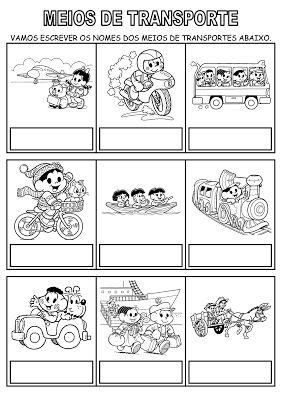 Alfabetizando com Mônica e Turma: Meios de transporte
