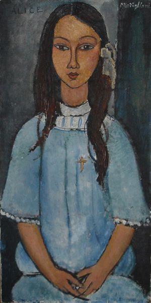 Портрет жены модильяни в синем платье