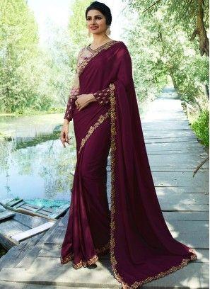 a2871fb3234626 Modernistic Prachi Desai Wine Art Silk Traditional Saree