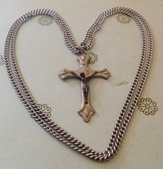 Vintage Silver Tone Crucifix Pendant Necklace, Beefy Silver