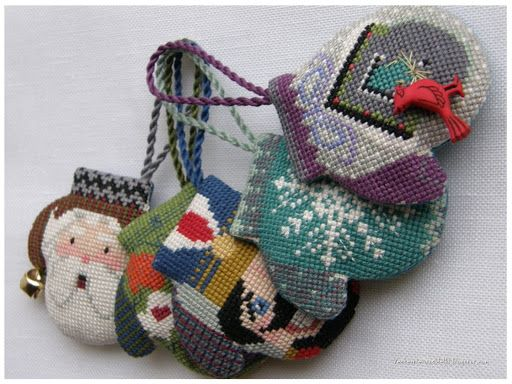 3D cross stitch mittens by The Cricket Collection