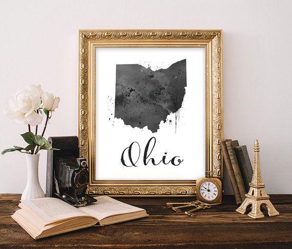 Ohio Art Print Ohio State Wall Art Ohio State Decor Ohio Watercolor Art Print Ohio Decor Ohio Home Decor Watercolor State Printable