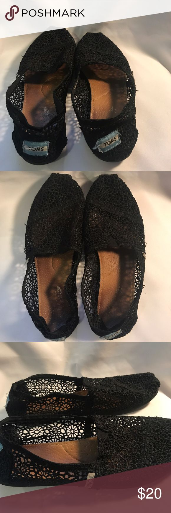 Womens black lace TOMS size 10 Womens black lace TOMS classic shoes with leather sole. Wording on the sole has rubbed off, but I believe these are size 10; they are approximately 27 centimeters in length. No flaws in the lace, and lots of life left in the soles. Check out my other listings for a bundle discount! Toms Shoes Flats & Loafers