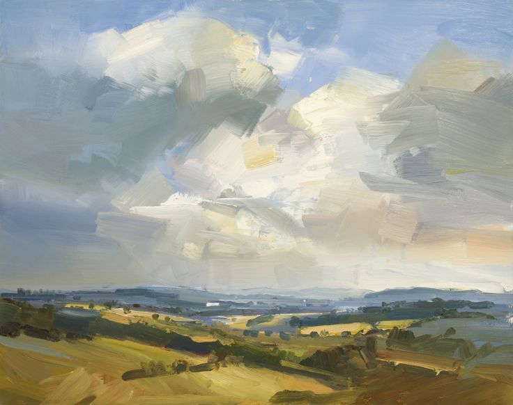 David Atkins Morning Light Looking Towards the Malverns Oil on Panel 61 x 76 cm  #Art #Paintings #Landscape #Malverns