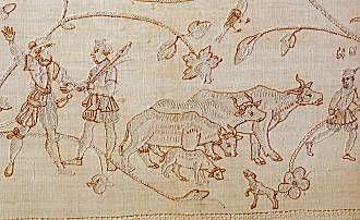 Анна Текстиль, крупный рогатый скот, лен вышивка
