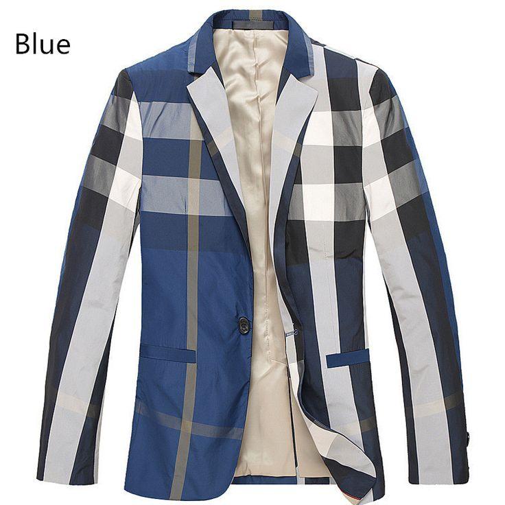 Men's Plaid Blazer, Slim Fit, Blue, Plus Size S-3XL