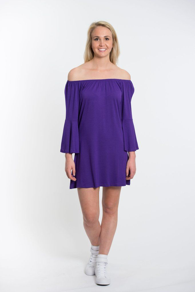 Bell Sleeve Dress - Purple