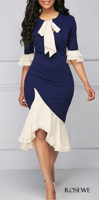 Asymmetric Hem Tie Neck Frill Hem Sheath Dress