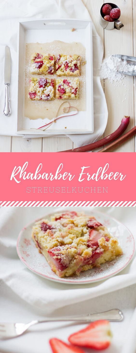 Rhabarber Erdbeer Streuselkuchen vom Blech
