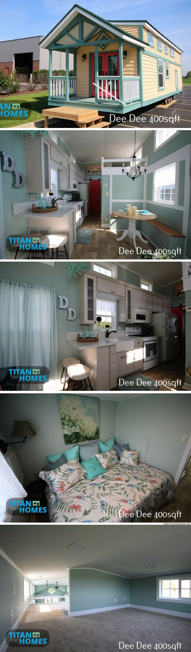 The Dee Dee: the perfect home for those looking to downsize without going too tiny! It features a wide, open layout with 400 sq ft of space and two bedrooms! Designed and built by Titan Tiny Homes