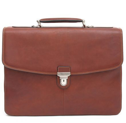 Elevate your status with this classic Italian Leather Double Compartment Briefcase. Finely crafted as a part of our Green Collection, where fashion meets functionality with organizational pockets, smooth flap over closure and an easy to grasp top handle. Add your important documents, folders, electronics and you have a recipe to impress.