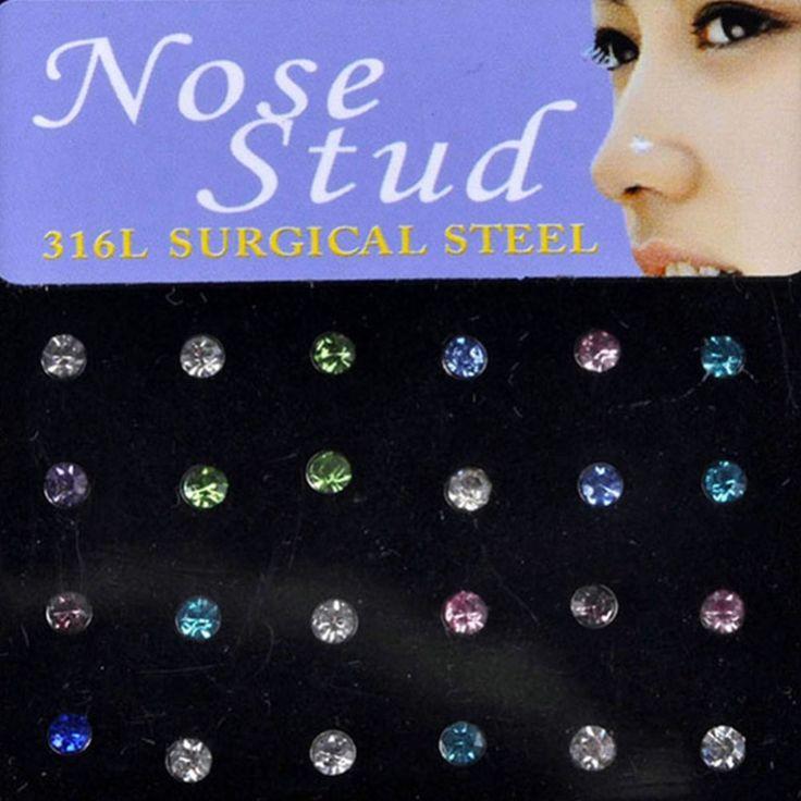 Prix bas En Gros Indien style 24 pcs/Lot Cristal Strass Nez Anneau Os Goujon En Acier Chirurgical Nez Piercing Bijoux de Corps