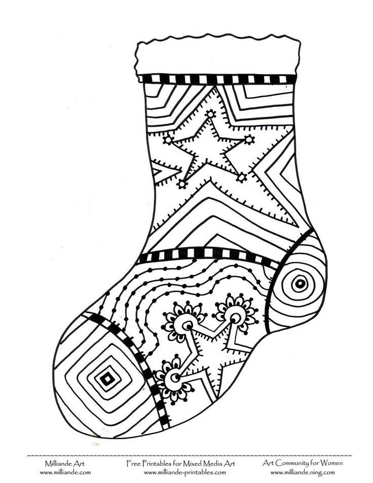 Free Christmas Coloring Page Stocking,Milliande's Free