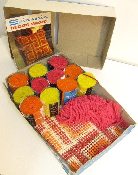 70's Latch Hook Kit- oh those little precut yarn things!!