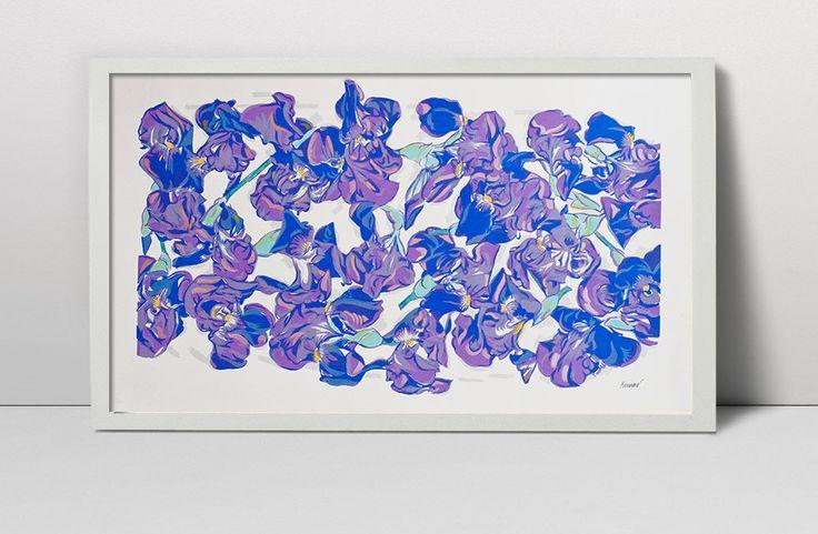 Handmade screen print painting Iris flowers still life serigraph screenprint…
