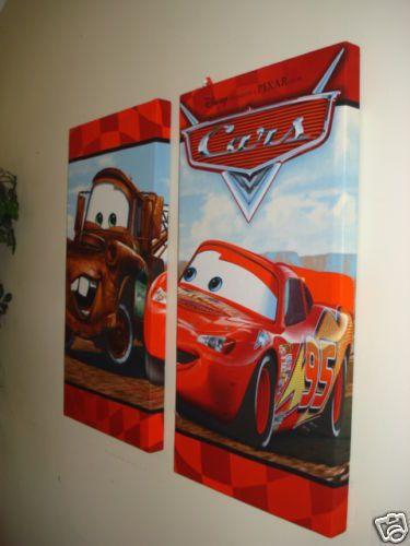 "Disney cars fabric wall hanging mural boys bedding- 2 16x30"" panels"