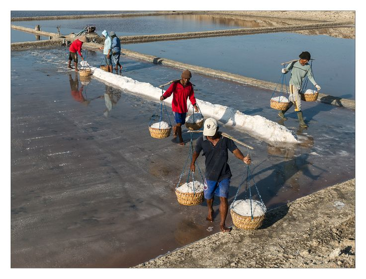At work in the salt pan - Amed, Bali