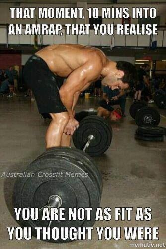 That moment 10 minutes into an amrap that you realize you are not as fit as you thought you were. #crossfit #meme