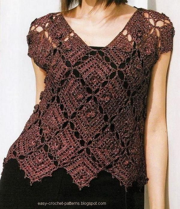 Women Crochet Vest Sweater brown