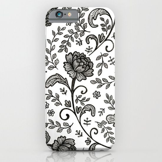 A hand drawn pattern inspired by vintage floral lace fabric - drawn in pen, then scanned and assembled digitally. Designed by Hazel Fisher Creations.  Protect your iPhone with a one-piece, impact resistant, flexible plastic hard case featuring an extremely slim profile. Simply snap the case onto your iPhone for solid protection and direct access to all device features.