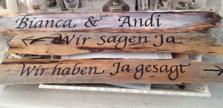 Holzschilder für Hochzeit/ Wedding sign in German, We say yes / we did say yes