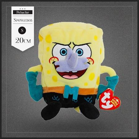 Petite peluche Bob l'éponge l'homme sirène. Bob porte le déguisement du personnage Mermaid Man de sa série tv préférée.