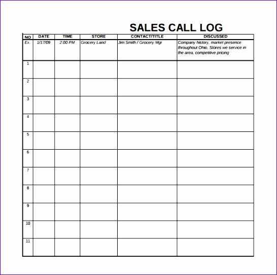 Call Log Template - Once you get your template, go right ahead and