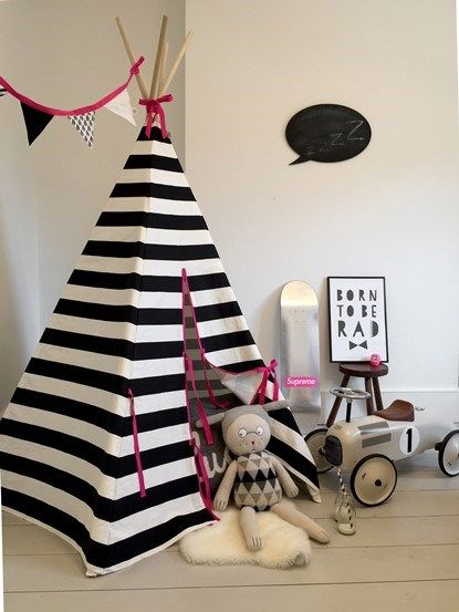 Wildfire Teepee Monochrome With Stripe with Pink   Furniture For  KidsPlayroom. 172 best Modern black   white kids Teepees images on Pinterest