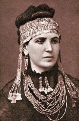 Sophia Engastromenos (1852–1932) Second wife of Heinrich Schliemann wearing jewelry he excavated at Troy.