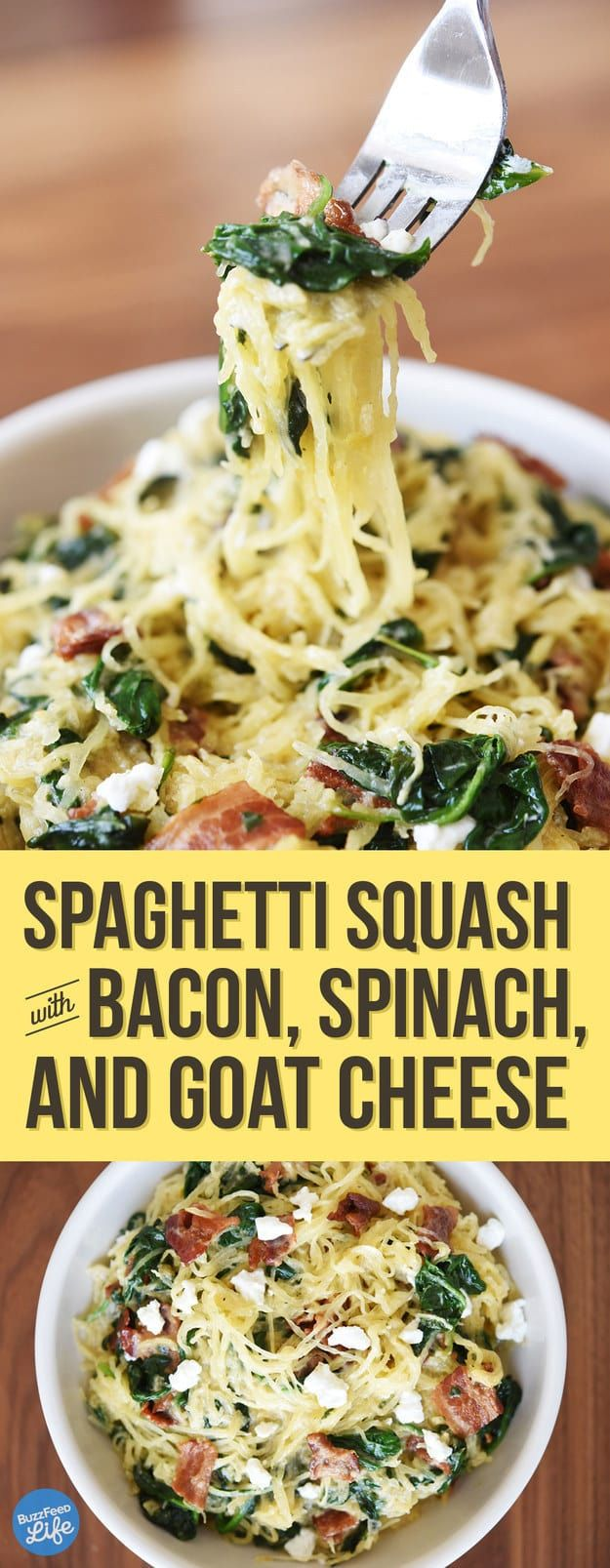 1 medium spaghetti squash    1 tablespoon olive oil    kosher salt and freshly ground pepper    6 slices bacon, cut in 1-inch pieces    1 tablespoon red wine vinegar    1 tablespoon maple syrup    1 5-ounce bag baby spinach    2 ounces soft goat cheese, crumbled