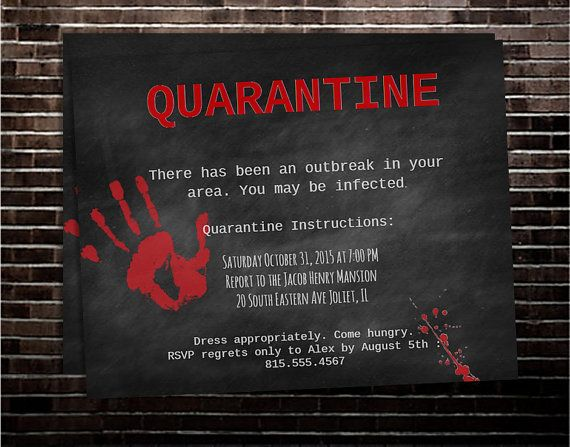 Printable Chalkboard Zombie Halloween Party Invitation …