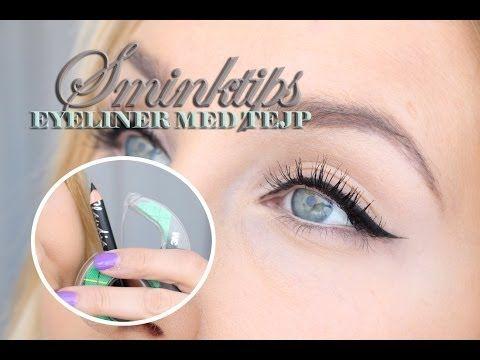Sminktips - Skarp eyeliner med kajal och tejp - YouTube