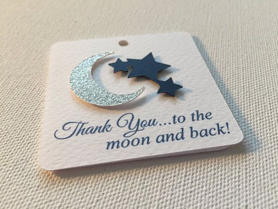 Moon Star Favor Baby Shower Tag baby boy by GraciousBeeGreetings