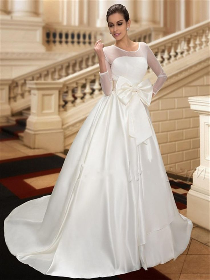 Свадьба платье 3/4 рукава китай онлайн магазин глубокий круглый халат де Mariage бант / кнопки / драпированный свадебные платья свадьба платье