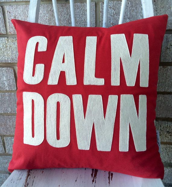 Decorative pillow Calm Down word on a pillow by kreativKristine