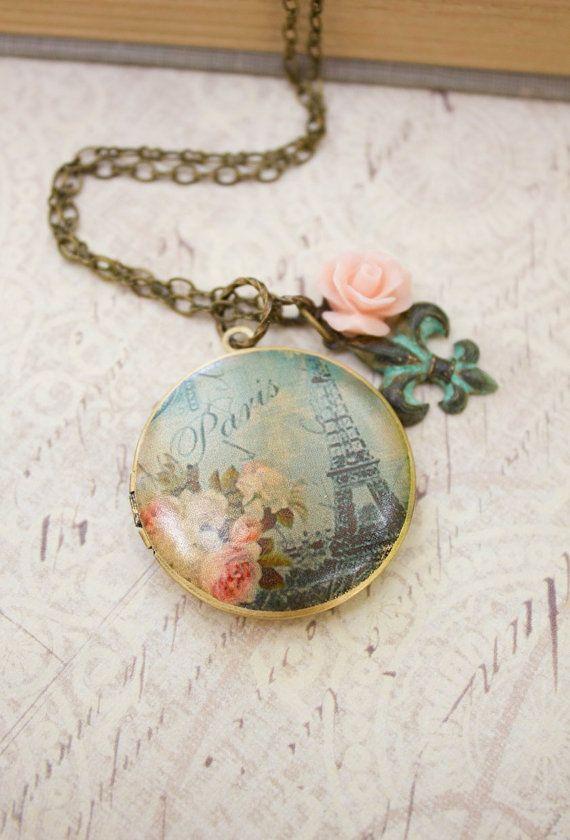 Paris Locket Necklace Pink Rose Charm Long by apocketofposies