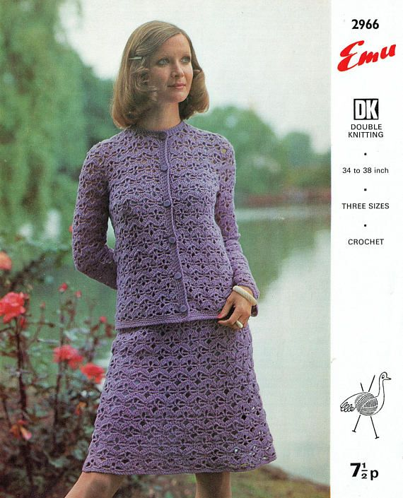 PDF Vintage 1960s Womens Ladies Dress Crochet Pattern Skirt