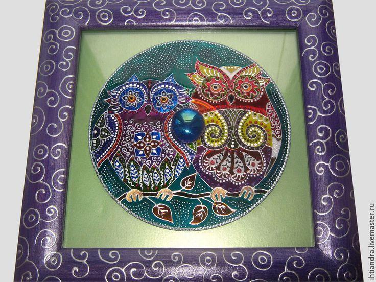 Купить Совушки Панно с витражной росписью на диске - Витражная роспись, витражное панно, витражная картина